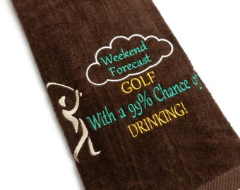 Golf towel, funny golf towel, embroidered towel, gift for him, custom golf, personalized golf, Father's Day,