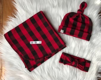 Baby swaddle set / swaddle / buffalo plaid swaddle / buffalo plaid baby blanket / baby gift set / baby swaddle / buffalo plaid set