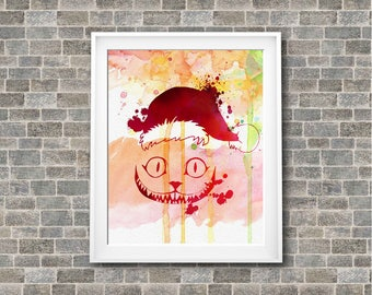 "Cheshire Cat Christmas watercolor Murals ,8""x10""  JPEG & PDF file , Inspirational Quote,Digital Prints,Wall Art Prints"