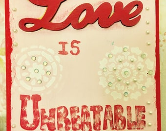 Love is Unbeatable Wooden Wall Post