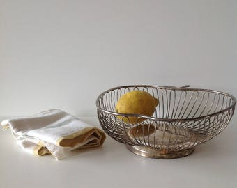 Apple shaped vintage metal basket, French, 70s