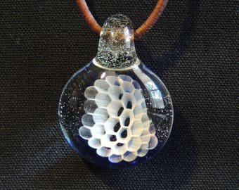 "FREE SHIPPING! 3D Honeycomb with Synergy"" Backing & Loop, Borosilicate Glass Pendant / Necklace"
