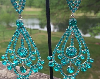 Aqua Chandelier Earrings|Aqua Earrings|Long Aqua Earrings|Aqua Pageant Earrings|Aqua Prom Earrings|Chandelier Earrings|Bling Jewelry| 202-13