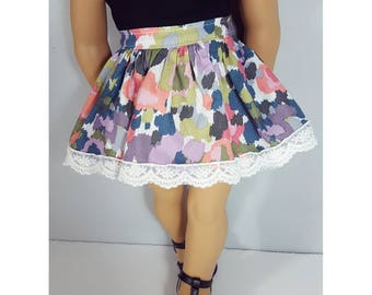 18 inch doll clothes - watercolor girl BDU skirt