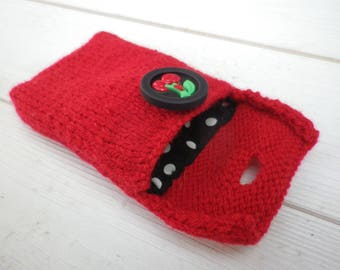 Small pouch / case / cover red wool with button cherries Rockabilly style