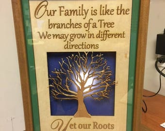 Family Tree LED Light Box (Green) Our family is like a tree. We may grow in different directions, Yet our Roots remain the same