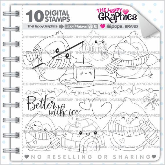 Penguin Stamp 80OFF COMMERCIAL USE Digi Digistamp Kawaii Stamps Party Animal Images