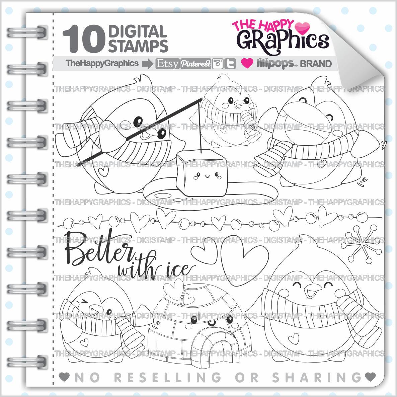 Penguin Stamp 80OFF COMMERCIAL USE Digi