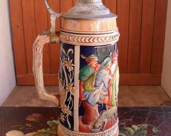 ON SALE German Stein, Beer Stein, Hand Painted Stein, Vintage Beer Stein