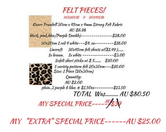 EXCESS STOCK, DETASH Felt pieces, Thin and Thick 4mm, Variety Size and Colours, Bargain buy! One Only, Great Prices, Bargains,