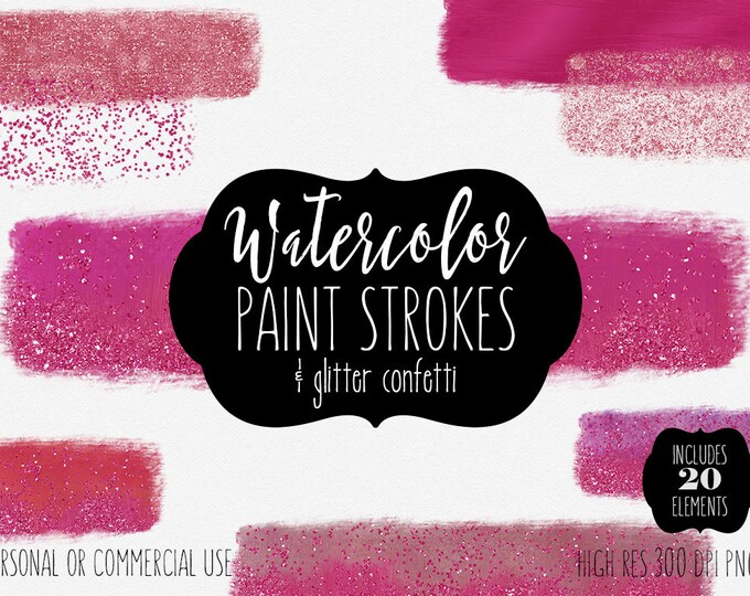 MAGENTA PINK WATERCOLOR Brush Strokes Clipart Commercial Use Clipart 19 Watercolor Paint Rectangles & Glitter Confetti Watercolor Textures