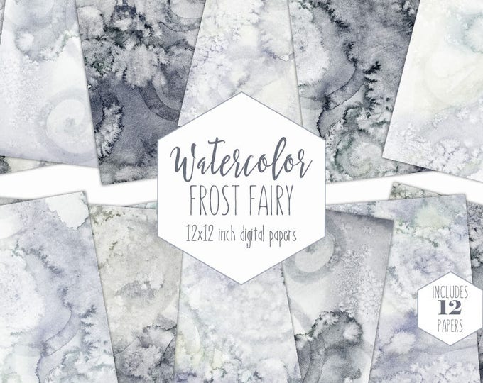 GRAY WATERCOLOR Digital Paper Pack Commercial Use Silver Backgrounds Coal Scrapbook Papers Ice Frozen Real Watercolour Wash Textures Clipart