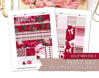 PRINTABLE MONTHLY KIT: Chocolate Valentine/Erin Condren/Printable/Digital/Monthly Kit