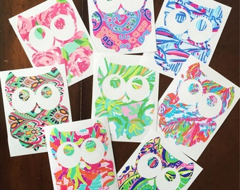 Owl Decal - Lilly Pulitzer-Inspired {Car Decal} {Yeti Decal}