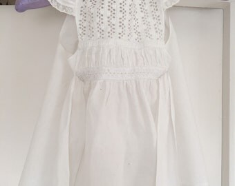 Victorian childs pinafore dress - antique white pinafore dress