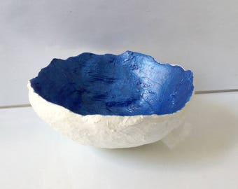Exclusive White Concrete Orb, Egg sell, Bowl Medium Size with Metallic Blue Interior Finish