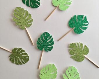 Palm Leaves Cupcake Toppers - Palm Leaves - Palm Leaf - Tropical Toppers - Tropical Cupcake - Tropical Party - Luau - Palm Leaf
