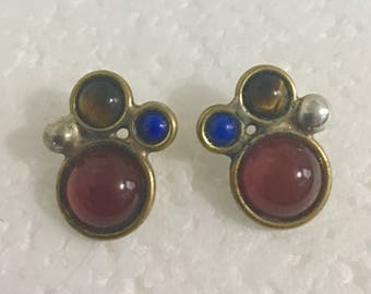 Sterling silver and brass stud earrings with lapis, tiger's eye, and carnelian stones