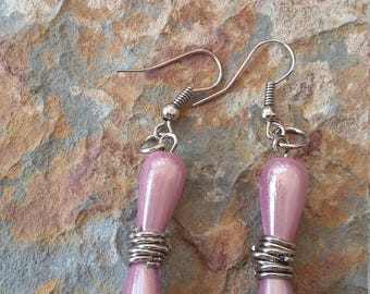 Pink and silver drop dangle earrings simple stylish modern elegant fashion trendy  earrings minimalist light beaded handmade  drop earrings