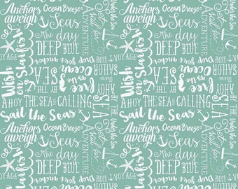 Teal Words Quilt Fabric - By the Sea - Riley Blake Designs