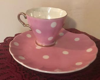 Huge Sale!!! SAJI Fine China Pink Polka Dot Tea Cup and Saucer