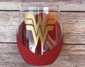 Wonderwoman Wine Glass | Glitter Wine Glass