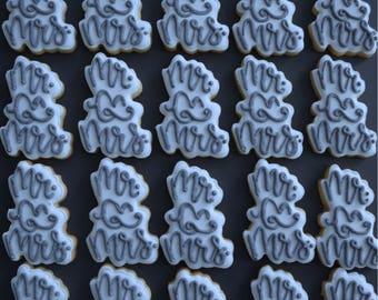Two dozen Mr. & Mrs. Sugar Cookies - Wedding Cookies - Engagment Cookies