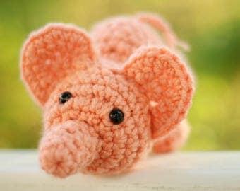 Amigurumi Stuffed Peach Baby Elephant