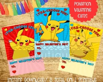 Pokemon Valentine's Day Card / Pikachu Valentines Day Card / Pokemon Card / Pikachu Card
