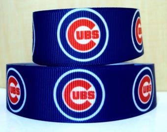 "5 Yards 7/8"" Chicago Cubs Baseball Grosgrain Ribbon Crafts Bows Scrapbooking"