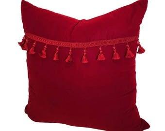 Red Fringe Pillow Cover, Red  Velvet Pillow, Velvet Pillow, Velvet  Pillow 20x20,Pillow Covers, Velvet Pillow