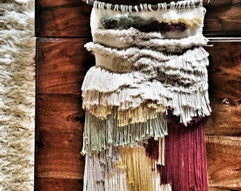 "WOVEN WALL HANGING ""FRINGE"" 100% RECYCLED COTTON"