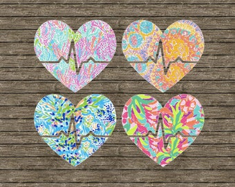 Lilly Pulitzer insp. Heart Beat/Pulse Decal/Sticker