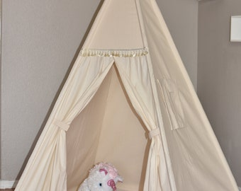 Muslin Kids Teepee, Kids Play Tent, Childrens Play House, Tipi,Kids Room Decor
