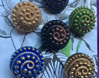 6 old collector glass buttons - 18 mm - hand painted (158)