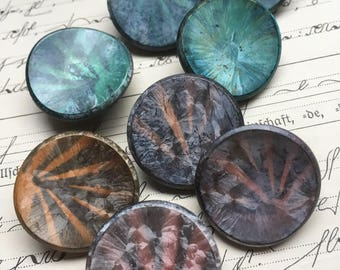 8 Rough shimmering glass buttons-eye catcher-old collectors/glass buttons
