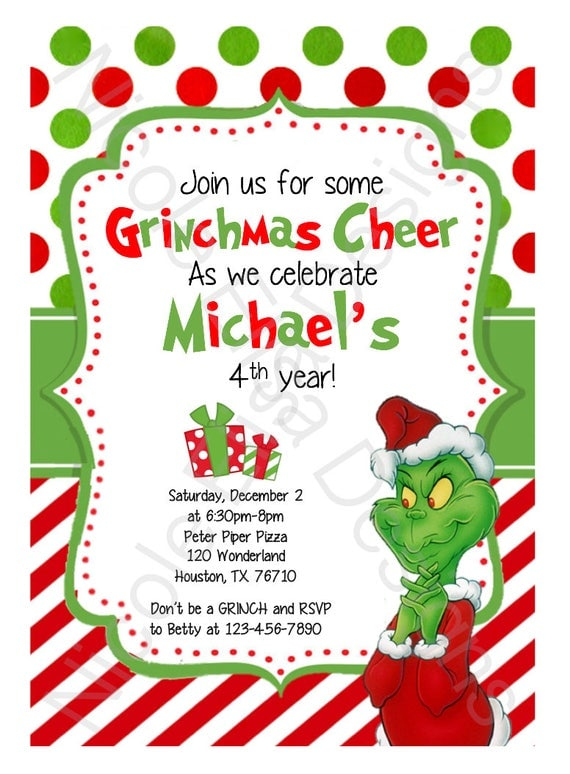 The Grinch Birthday Party Invitation