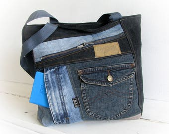 Recycled denim bag with top zipper Recycled jeans tote bag Zippered patchwork bag Jean handbag patchwork Made of jeans Jeans recycling OOAK