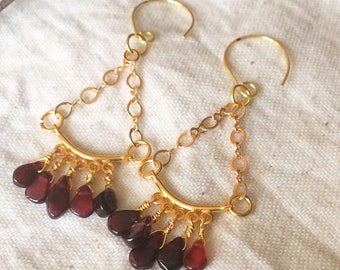 Mini garnet chandelier earrings