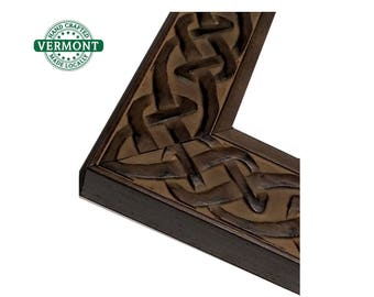 Celtic Knot Picture Frame, Walnut, Brown, Carved, Wood, Wedding Frame 4x6, 5x7, 8x10, 11x14, 16x20, 17x20, 18x24, 24x30 24x36 23x27 24x20