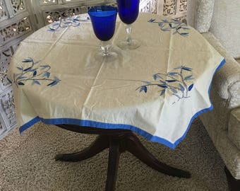 Vintage Blue Tablecloth, 1940s Table Linens Cloth Cream Square Retro HAND  Embroidered Appliquéd Bamboo Home