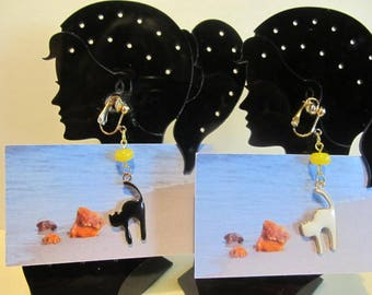 Black white Cat Amber Earrings enamel Natural Baltic jewelry yellow round tablet bead Gold color clip on clasp