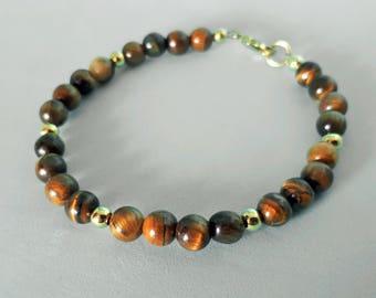 Eye of the Tiger: Genuine Tiger Eye Gemstone Bead Bracelet