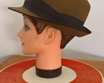 Vintage 50s 60s trilby fedora brown felt hat