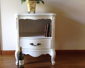 Vintage End Table, Night Stand, Shabby Chic, Painted Table, Bordeaux Style