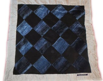 "Handmade DECORATIVE BABY QUILT ~ ""Harlequin"" ~ Chenille / Fleece ~ Blue & Black"