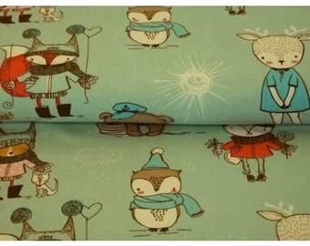 Winter Animals, Mint Green - Stenzo Organic Cotton Lycra Jersey Knit Fabric