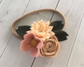 Felt flower headband , nylon headband , floral headband , felt headband