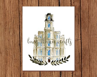 Manti Temple Watercolor Print
