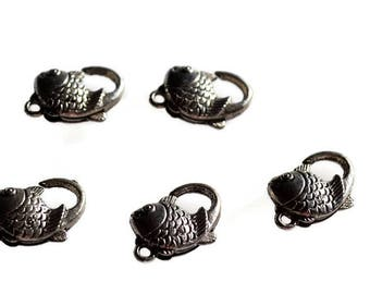 sold by 5 fish pattern silver snap clasps